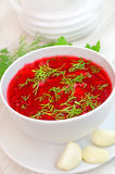 Red borsch with herbs Royalty Free Stock Images