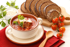 Red borsch with herbs & spice Royalty Free Stock Images