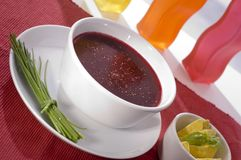 Red borsch soup. And appetizer stock images
