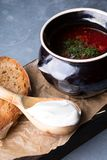 Red borsch soup. Russian ukrainian traditional beetroot red soup with sour cream stock photo