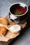Red borsch soup. Russian ukrainian traditional beetroot red soup with sour cream stock photography