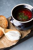 Red borsch soup. Russian ukrainian traditional beetroot red soup with sour cream stock images