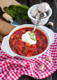 Red borsch with sour cream Stock Photo