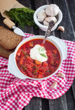 Red borsch with sour cream Royalty Free Stock Image