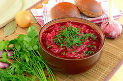 Red borscht with dill Royalty Free Stock Images