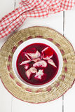 Red borscht with dumplings Royalty Free Stock Images