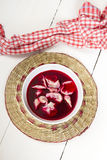 Red borscht with dumplings Royalty Free Stock Photos