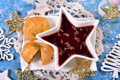Red borscht and mushroom pastries for christmas eve Royalty Free Stock Image