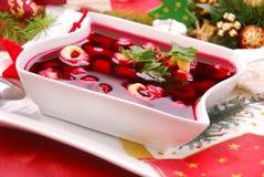 Red borscht with mushroom  ravioli Stock Photos