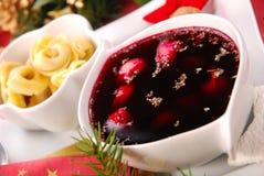Red borscht with mushroom  ravioli Stock Images