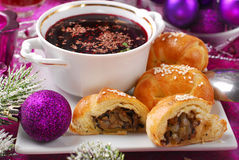 Red borscht and pastries with mushrooms for christmas Royalty Free Stock Photography