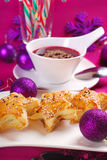 Red borscht and puff pastries for christmas stock images