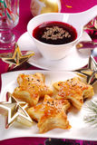 Red borscht and puff pastries for christmas royalty free stock photography