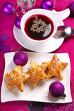 Red borscht and puff pastries for christmas stock photos