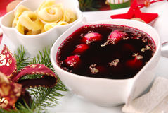 Red borscht with  ravioli for christmas eve Royalty Free Stock Photos