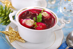 Red borscht with ravioli for christmas Royalty Free Stock Image