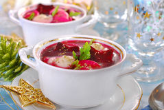 Red borscht with ravioli for christmas Royalty Free Stock Photography