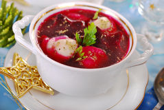 Red borscht with ravioli for christmas Stock Photography