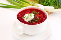 Red borscht soup with dill Royalty Free Stock Photos