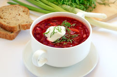 Red borscht soup with dill Stock Photo