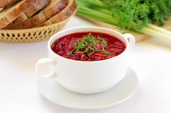 Red borscht soup with dill Royalty Free Stock Images