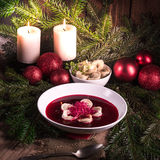 Red borscht soup Stock Images