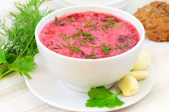 Red borscht with sour cream Royalty Free Stock Photo