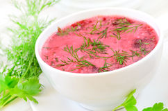 Red borscht with sour cream and dill Stock Photo
