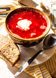 Red borscht with sour cream and garlic bread slices Stock Photography