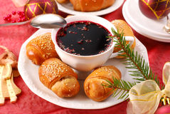 Red borscht and yeast pastries for christmas Stock Photos