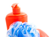 Red bottle with gel, soap and wisp Royalty Free Stock Photos