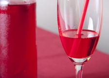 Red bottle and glass Royalty Free Stock Photo