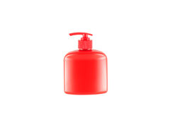 Red bottle for liquid soap from a dispenser. Royalty Free Stock Image