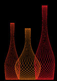 Red  bottles. Three red bottles on a black background Royalty Free Stock Photo