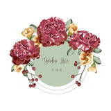 Red bouquet floral invitation card and green circle label Stock Image