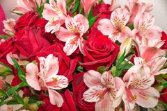 Red bouquet of flowers roses and Alstroemeria. Close-up. stock photos