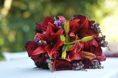 Red Bouquet Of Flowers On Table Stock Image