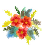 Red Bouquet Of Flowers Painted In Watercolor Stock Images