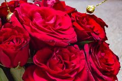 Red bouquet of roses on a vase. For image or text use stock image