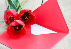 Red bouquet of tulips & envelope on wooden background. Stock Photography