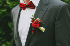 Red boutonniere of groom Stock Images