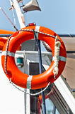 Red bouy on a boat. Ready to save lives Royalty Free Stock Photography