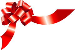 Red bow. Decorative bow on isolated white Stock Photography