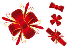 Red bow. This ara four red bows Royalty Free Stock Images