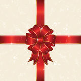 Red bow. Bow and ribbon wrapping paper sheet, illustration Stock Photo
