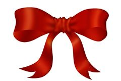 Red bow. Red cross ribbon and bow Stock Images