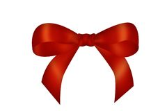 Red bow. Red cross ribbon and bow Royalty Free Stock Images