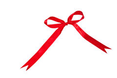 Red bow. Ribbon over white background Royalty Free Stock Photo