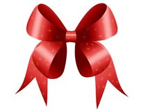 Red bow. With gold sparkles isolated on white background Stock Image