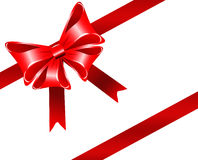 Red bow. And ribbon isolated on white stock illustration
